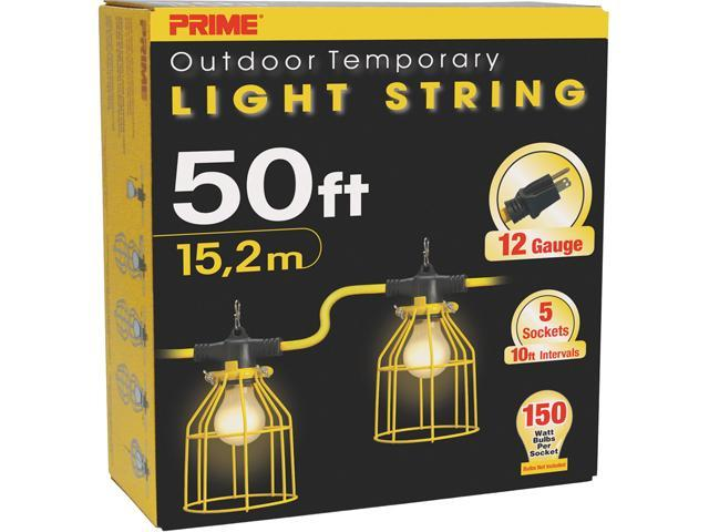 Prime Wire Model LSUGM830 50 ft. 12/3 SJTW Temporary Light Strip With Metal Cages