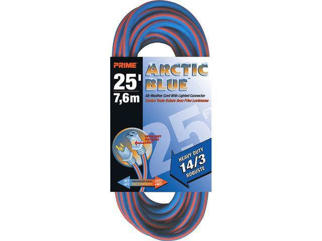 Prime Wire Model LT530725 25 ft. Heavy Duty 25-Foot Artic Blue All-Weather TPE Extension Cord