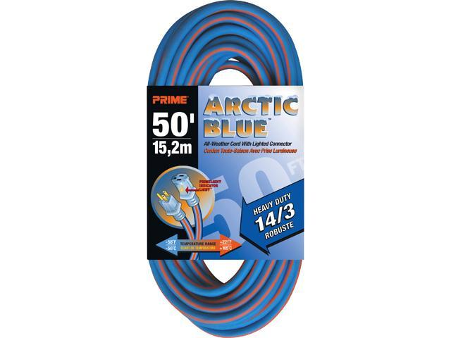 Prime Wire Model LT530730 50 ft. Heavy Duty 50-Foot Artic Blue All-Weather TPE Extension Cord