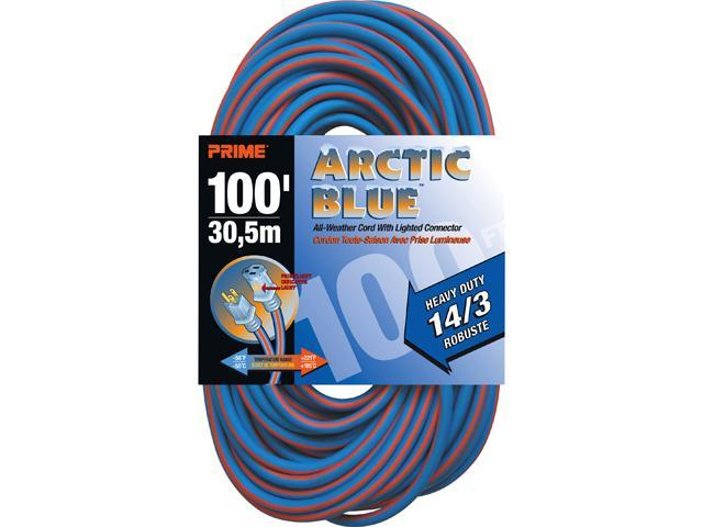 Prime Wire Model LT530735 100 ft. Heavy Duty Artic Blue All-Weather TPE Extension Cord