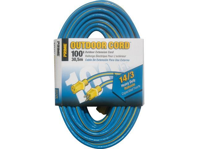 Prime Wire Model KC506735 100 ft. Kaleidoscope Heavy Duty Extension Cord, Blue and Yellow