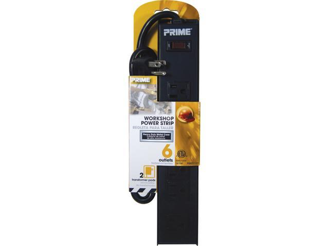 Prime Wire Model PB801123 3 Feet 6-Outlet 4+2 Metal Strip With 3-Foot Cord