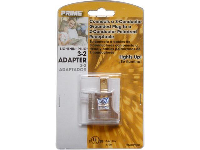 Prime Wire Model PBADP320 3-to-2 Grounding Adapter With Prime light Indicator Light