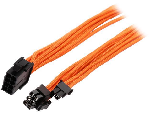 "Phanteks PH-CB8V_OR 19.68"" 8 to 8 (6+2) Pin VGA Extension cable 500mm Length, Orange"