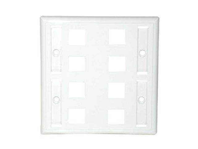 C2G 03415 8-Port Double Gang Multimedia Keystone Wall Plate - White