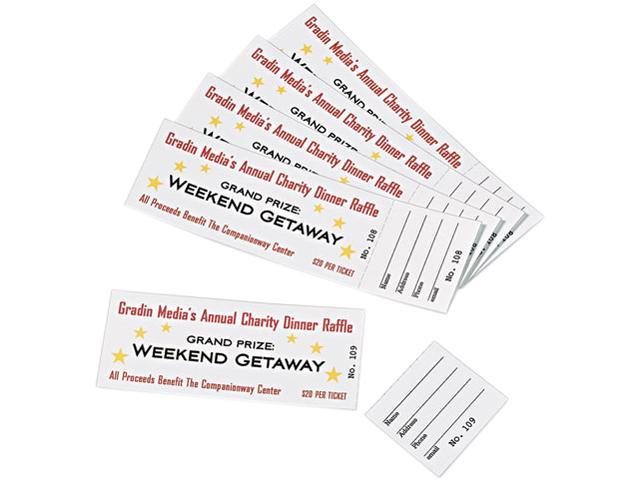 Printable Tickets w/Tear-Away Stubs 8 1/2 x 11 White 10/Sheet 20Sheets/Pack