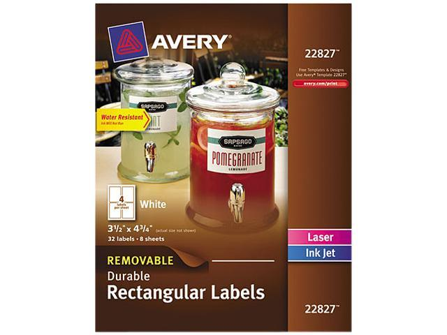 Removable Rectangle Labels w/Block Technology 3 1/2 x 4 3/4 White 32/Pack