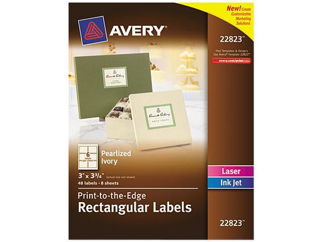 Rectangle Print-to-the-Edge Labels 3 x 3 3/4 Pearl 48/Pack