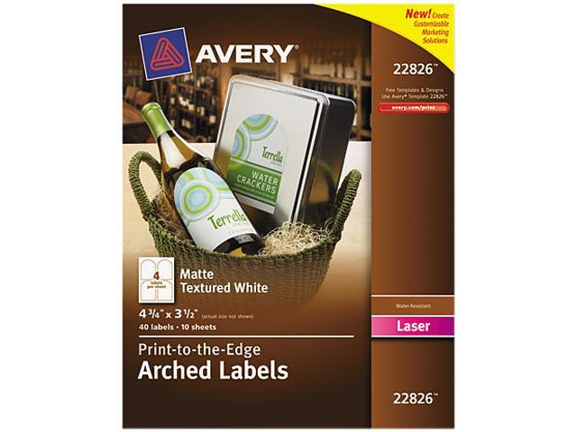 Textured Arched Print-to-the-Edge Labels 4 3/4 x 3 1/2 White 40/Pack