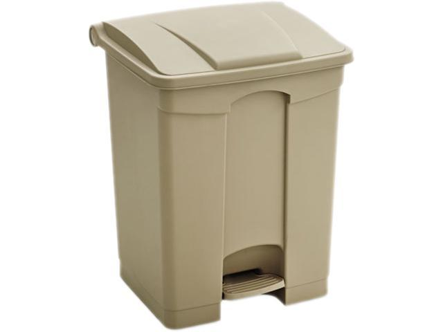 Safco 9922TN Plastic Step-On - 17 Gallon 16Wx15.5Dx17.5H Tan