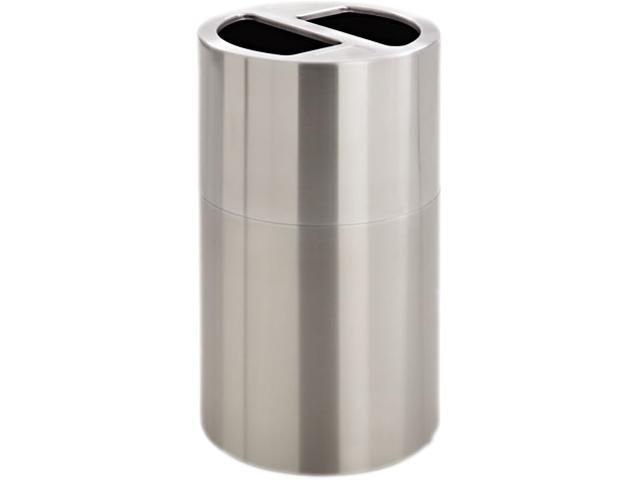 Safco 9931SS Dual Recycling Receptacle 17.5Dia. x 32.5H Stainless Steel