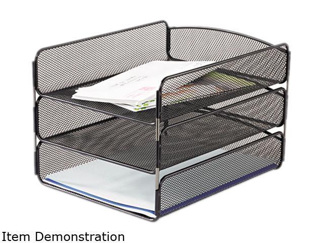 Desk Tray Three Tiers Steel Mesh Letter Black Newegg Com