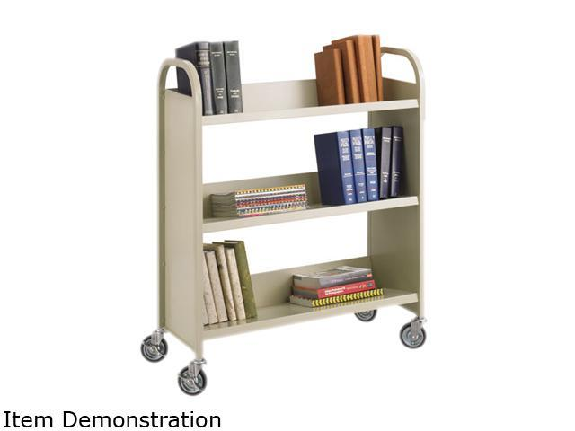 Steel Slant Shelf Book Cart, Three-Shelf, 36W X 14-1/2D X 43-1/2H, San