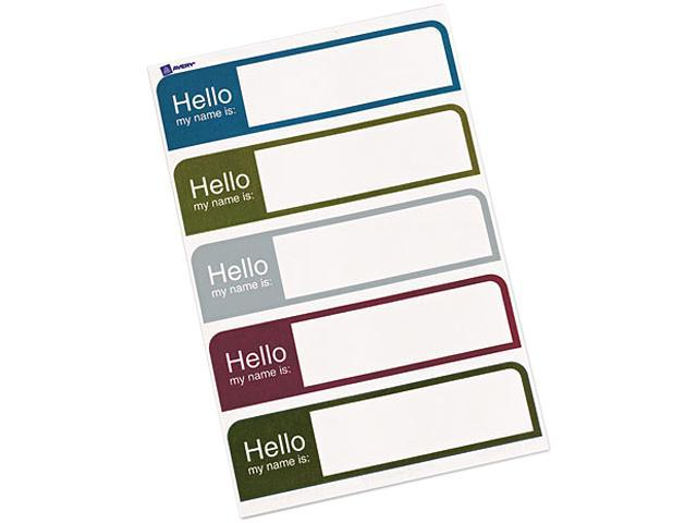 Flexible Self-Adhesive Mini Badge Labels 1 x 3 3/4 Hello Prof. Asst 100/PK