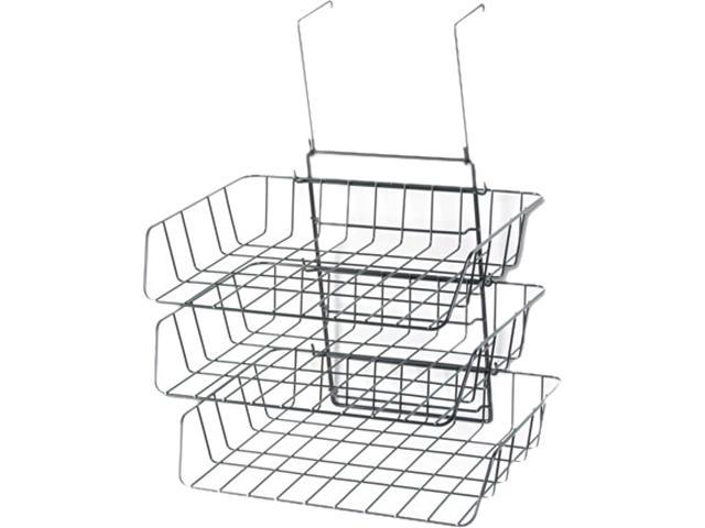 Wire Partition Additions Three-Tray Organizer, 13 1/2 X 11 7/8, Black