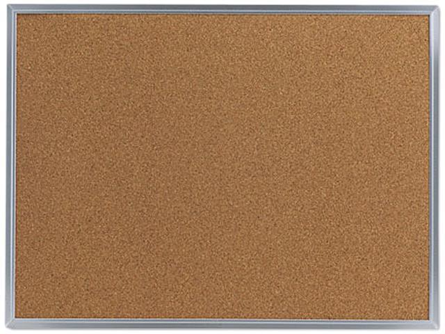 Bulletin Board, Natural Cork, 24 X 18, Satin-Finished Aluminum Frame