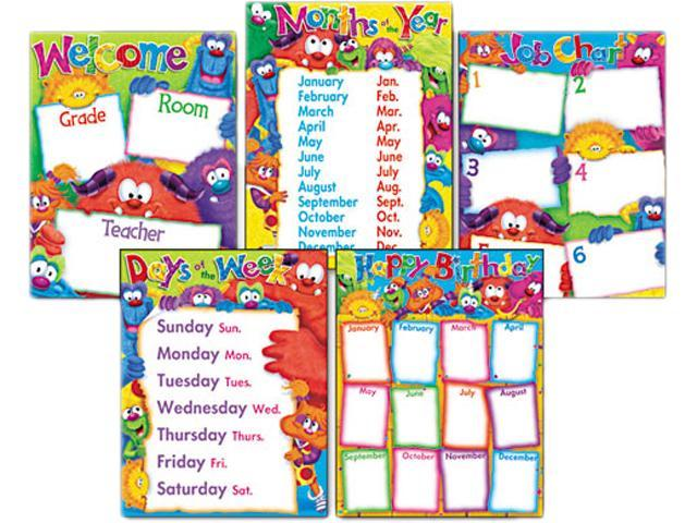 Learning Chart Combo Pack, Furry Friends Classroom Basics, 17w x 22, 5