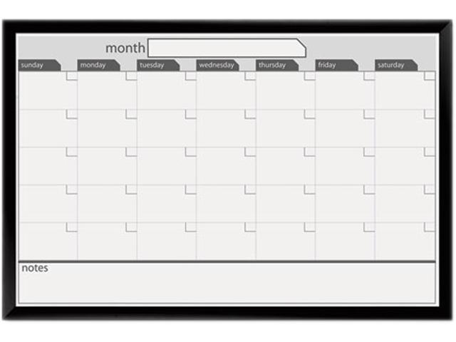 Magnetic Dry Erase Board, 36 x 24, Black/White Calendar with Black-Pai