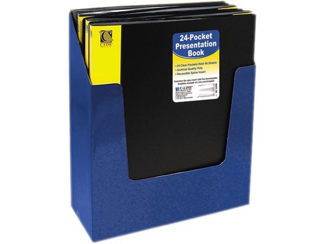 C-line 33240 Bound Sheet Protector Presentation Book, 24 Sleeves, 11 x 8-1/2, Black