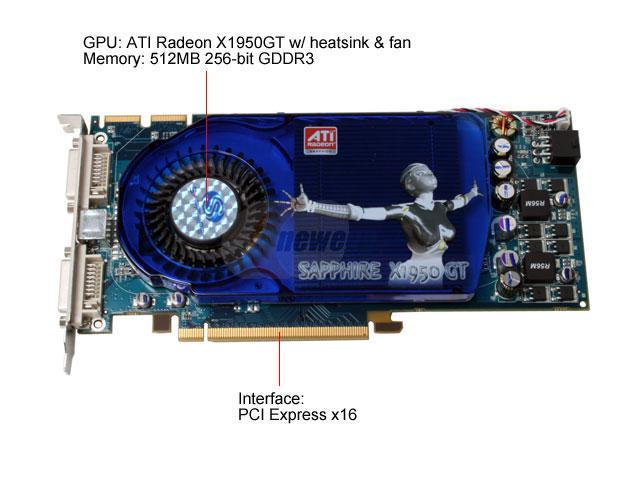 SAPPHIRE 100200L Radeon X1950GT 512MB 256-bit GDDR3 PCI Express x16 HDCP Ready CrossFireX Support Video Card
