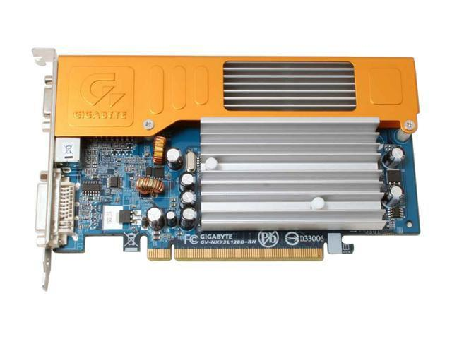 GIGABYTE GV-NX73L128D-RH GeForce 7300LE Supporting up to 512MB(128MB on board memory) by TurboCache technology 64-bit GDDR2 PCI Express x16 SLI Support Video Card