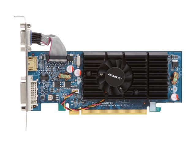 GIGABYTE GV-N210OC-512I GeForce 210 512MB 64-bit GDDR2 PCI Express 2.0 x16 HDCP Ready Video Card