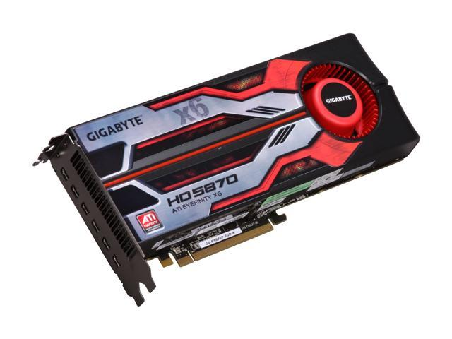 GIGABYTE Radeon HD 5870 (Cypress XT) DirectX 11 GV-R5876P-2GD-B Eyefinity 6 Edition Video Card