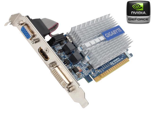 GIGABYTE GeForce 210 DirectX 10.1 GV-N210SL-1GI 1GB 64-Bit DDR3 PCI Express 2.0 x16 HDCP Ready Low Profile Ready Video Card