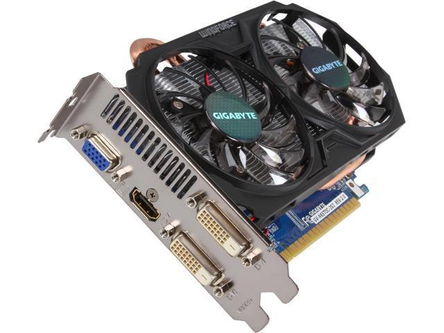 GIGABYTE GeForce GTX 650 Ti DirectX 11.1 GV-N65TOC-2GI REV2.0 2GB 128-Bit GDDR5 PCI Express 3.0 x16 Video Card