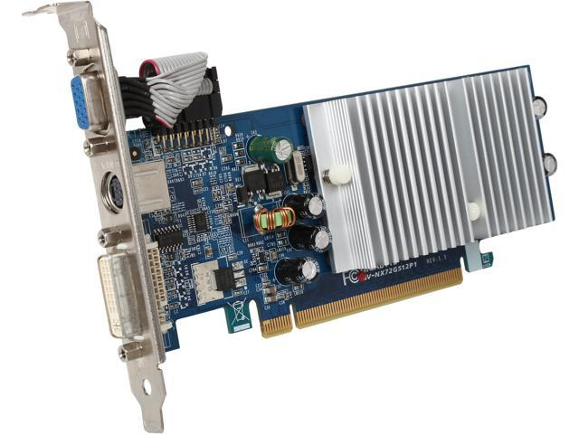 GIGABYTE GeForce 7200GS DirectX 9 GV-NX72G512P1 128MB 32-Bit GDDR2 PCI Express x16 Video Card