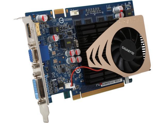 GIGABYTE GeForce 9400 GT DirectX 10 GV-N94TOC-1GI 1GB 128-Bit GDDR2 PCI Express 2.0 x16 HDCP Ready SLI Support Video Card