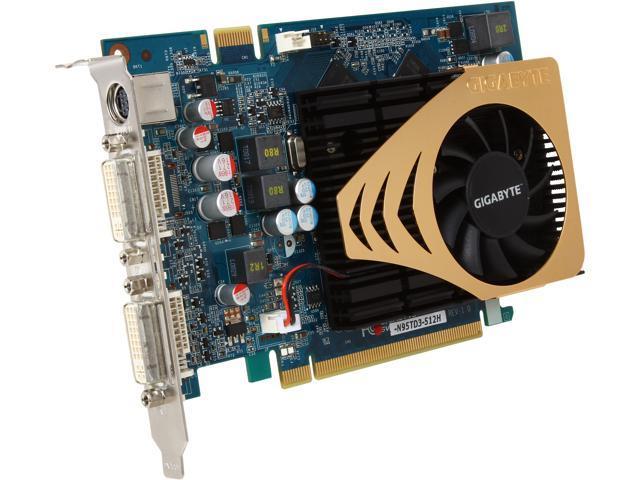 GIGABYTE GeForce 9500 GT DirectX 10 GV-N95TD3-512H 512MB 128-Bit GDDR3 PCI Express 2.0 x16 HDCP Ready SLI Support Video Card