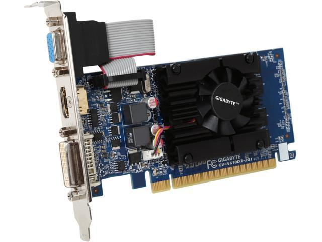 GIGABYTE GeForce GT 610 DirectX 11.1 GV-N610D3-2GI 2GB 64-Bit DDR3 PCI Express 2.0 x16 HDCP Ready Low Profile Video Card