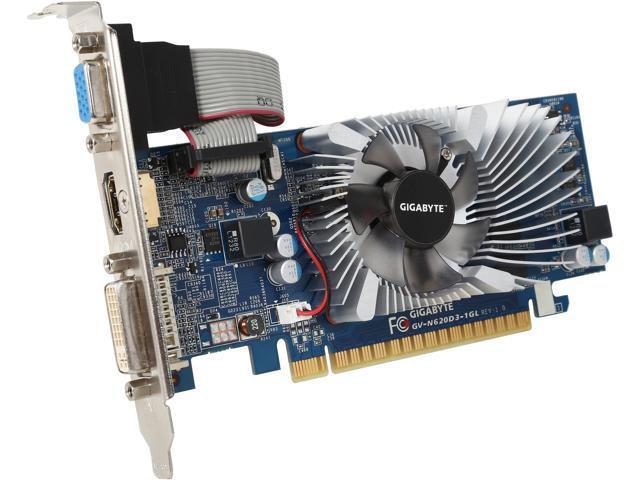GIGABYTE GeForce GT 620 DirectX 11 GV-N620D3-1GL 1GB 64-Bit DDR3 PCI Express 2.0 x16 HDCP Ready Low Profile Video Card