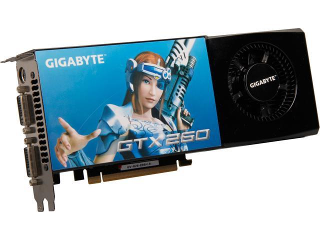 GIGABYTE GeForce GTX 260 DirectX 10 GV-N26-896H-B 896MB 448-Bit GDDR3 PCI Express 2.0 x16 HDCP Ready SLI Support Video Card