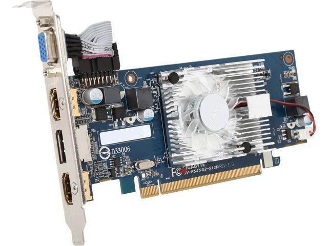 GIGABYTE Radeon HD 5450 DirectX 11 GV-R545D2-512D 512MB 64-Bit DDR2 PCI Express 2.1 x16 HDCP Ready Low Profile Video Card