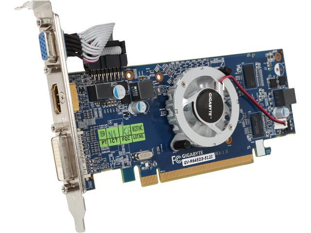 GIGABYTE Radeon HD 6450 DirectX 11 GV-R645D3-512I 512MB 64-Bit DDR3 PCI Express 2.1 x16 HDCP Ready CrossFireX Support Low Profile Ready Video Card