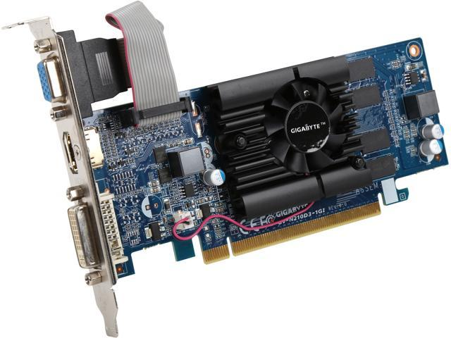 GIGABYTE GV-N210D3-1GI REV6.0 GeForce 210 1GB 64-Bit DDR3 PCI Express 2.0 x16 HDCP Ready Low Profile Video Card Certified Refurbished