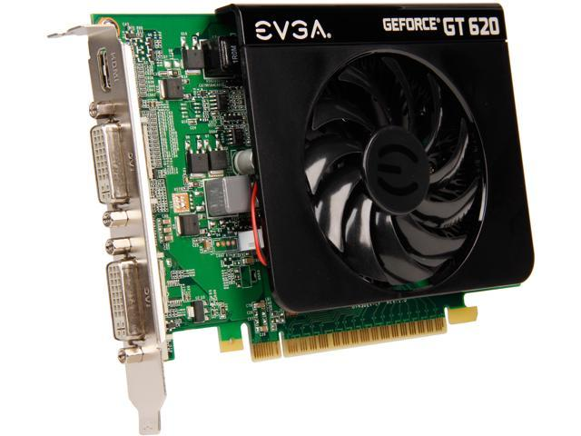 EVGA GeForce GT 620 DirectX 12 (feature level 11_0) 01G-P3-2621-KR 1GB 64-Bit DDR3 PCI Express 2.0 x16 HDCP Ready Video Card
