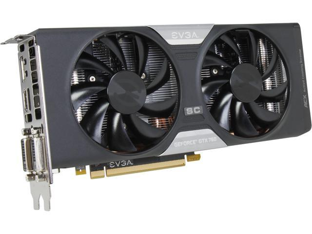 EVGA GeForce GTX 700 SuperClocked GeForce GTX 760 DirectX 12 (feature level 11_0) 02G-P4-2765-KR w/ EVGA ACX Cooler Video ...