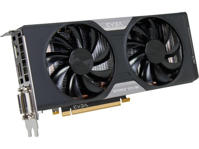 EVGA GeForce GTX 760 DirectX 12 (feature level 11_0) 02G-P4-2763-KR w/ EVGA ACX Cooler Video Card