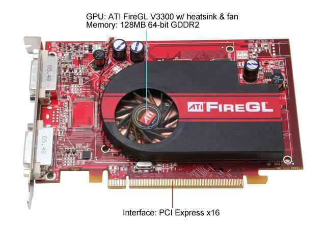 ATI 100-505135 FireGL V3300 128MB GDDR2 PCI Express x16 Workstation Video Card