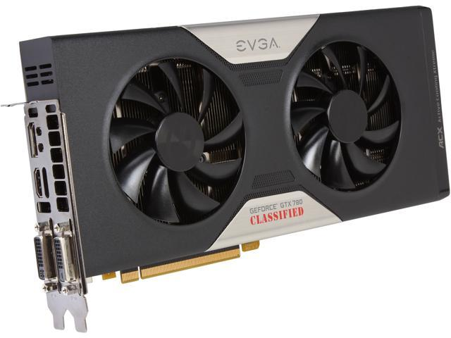 EVGA 03G-P4-3788-RX GeForce GTX 780 3GB 384-Bit GDDR5 PCI Express 3.0 SLI Support Classified w/ EVGA ACX Cooler Video Card Manufactured Recertified Certified Refurbished
