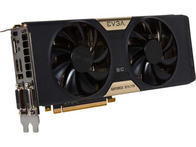 EVGA GeForce GTX 700 SuperClocked GeForce GTX 770 DirectX 12 (feature level 11_0) 04G-P4-3774-RX 4GB 256-Bit GDDR5 PCI Express 3.0 SLI Support Video Card