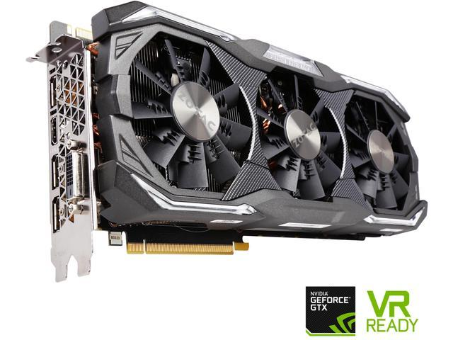 ZOTAC GeForce GTX 1080 AMP! Extreme, ZT-P10800B-10P, 8GB GDDR5X IceStorm Cooling, Metal Wraparound Carbon ExoArmor exterior, Dual-blade EKO Fan, Spectra Lighting, PowerBoost, FREEZE fan stop