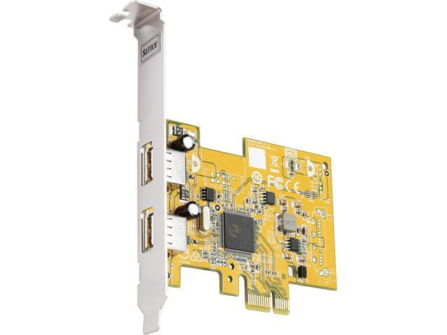 SUNIX 2-port USB2.0 PCI Express Add-On Card (W/Both Regular and LP Brackets) Model USB2400+L