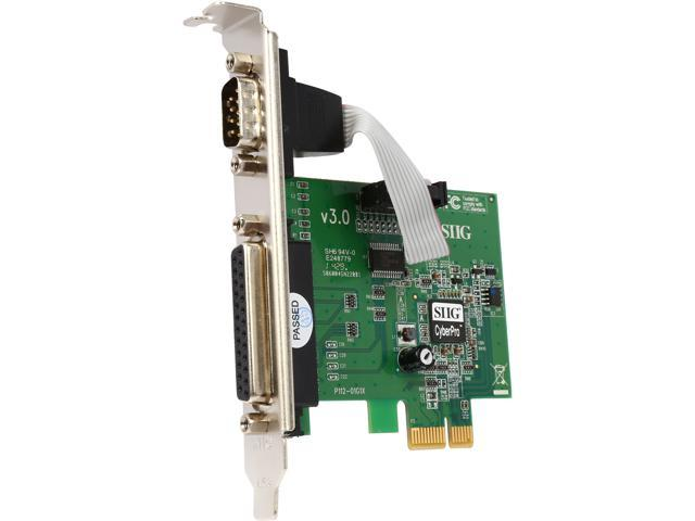 SIIG PCIe board with 1 serial (RS-232) and parallel (DB25) port Model JJ-E00011-S3