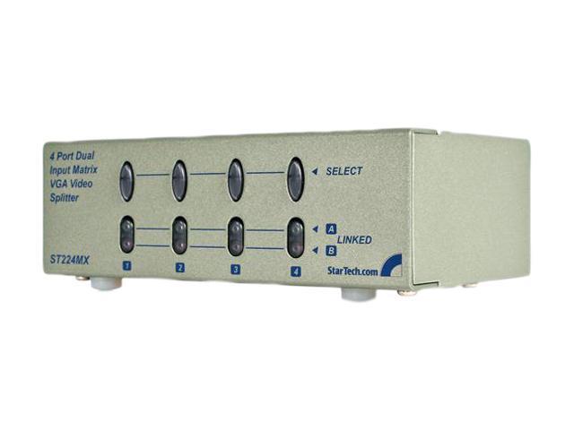StarTech ST224MX 4 Port Dual Input Matrix 250 MHz VGA Video Splitter / Distribution Amplifier