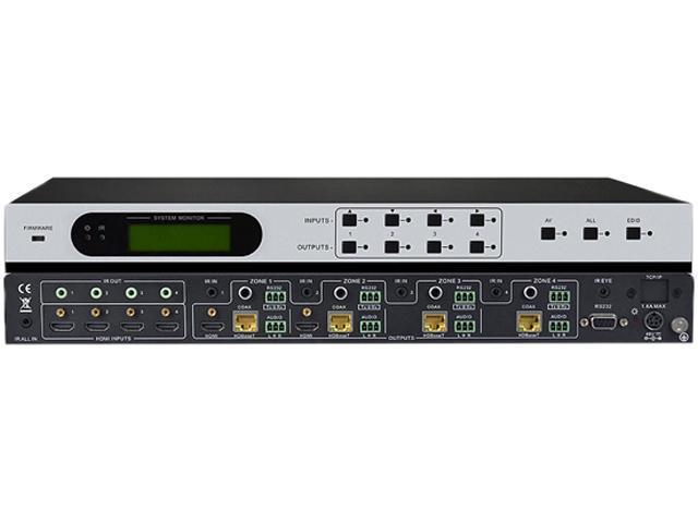 KanexPro Professional 4x4 HDMI to HDBaseT® Matrix w/ Audio De-embedder & PoE HDBASE4X4