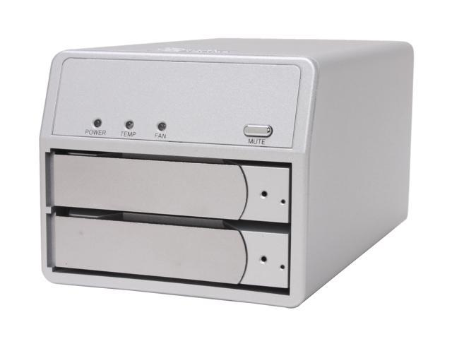 "SANS DIGITAL MobileSTOR MS2T+ JBOD (Individual Hard Drive Access) 2 x Hot-Swappable 3.5"" Drive Bays 2 x eSATA 2 Bay SATA to eSATA JBOD Hard Drive Storage Enclosure (Silver)"